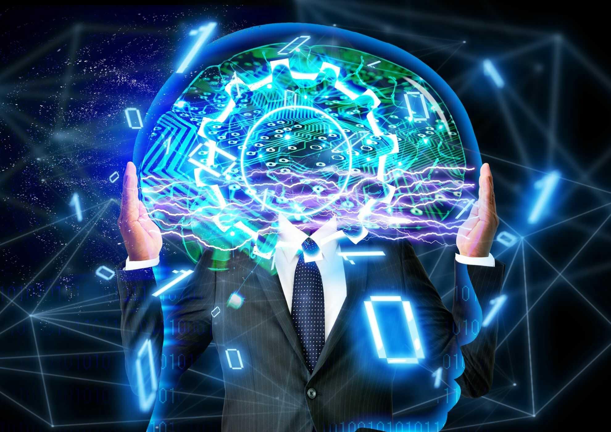 脳と半導体がスパークしているイメージ